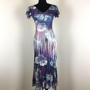 Komarov Floral Chiffon V-Neck Dress